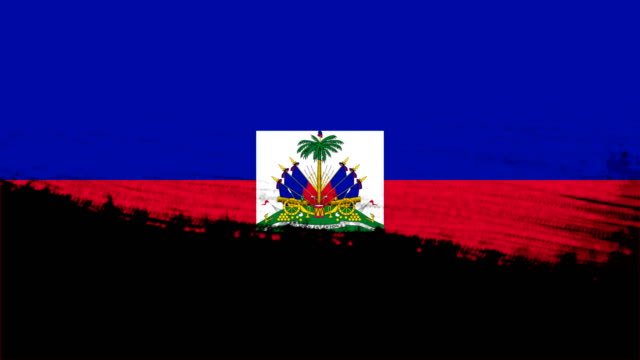 4k - 3 different paint brush style transition animation with haiti country flag - flag haiti stock videos & royalty-free footage