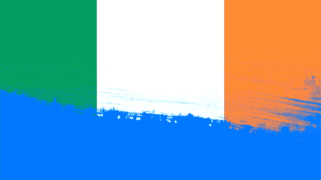 4k - 3 different paint brush style transition animation with ireland country flag - money politics stock videos & royalty-free footage