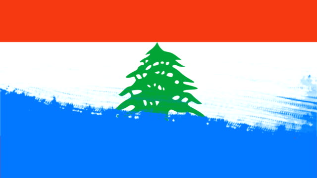 4k - 3 different paint brush style transition animation with lebanon country flag - lebanon country stock videos & royalty-free footage