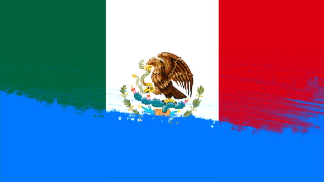 4k - 3 different paint brush style transition animation with mexico country flag - wipe video transition stock videos & royalty-free footage