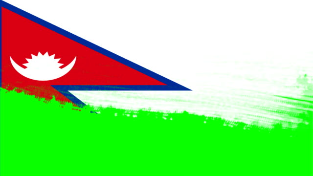 4k - 3 different paint brush style transition animation with nepal country flag - nepali flag stock videos & royalty-free footage