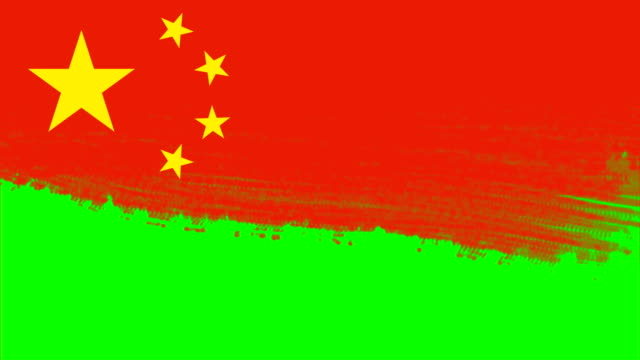 4k - 3 different paint brush style transition animation with people's republic of china country flag - chinese flag stock videos & royalty-free footage
