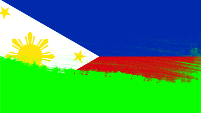 4k - 3 different paint brush style transition animation with philippines country flag - philippines flag stock videos & royalty-free footage