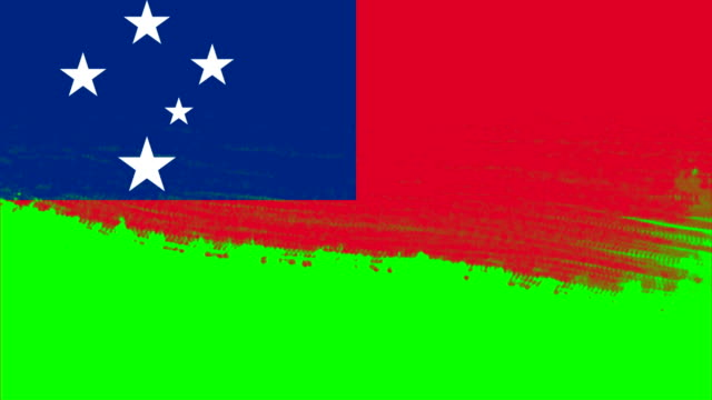 vídeos de stock e filmes b-roll de 4k - 3 different paint brush style transition animation with samoa country flag - samoa