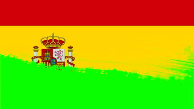 4k - スペイン国旗を持つ3種類のペイントブラシスタイルの切り替えアニメーション - スペイン国旗点の映像素材/bロール