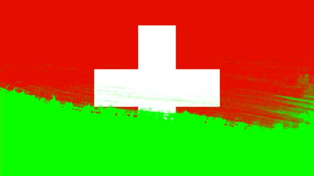 4k - 3 verschiedene pinsel stil übergang animation mit schweiz landflagge - independence stock-videos und b-roll-filmmaterial