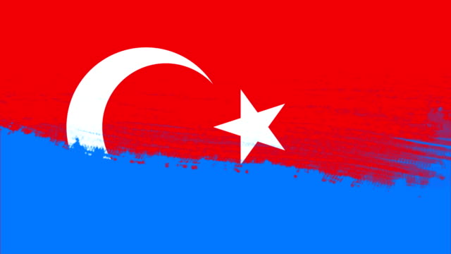4k - 3 different paint brush style transition animation with turkey country flag - turkish flag stock videos & royalty-free footage