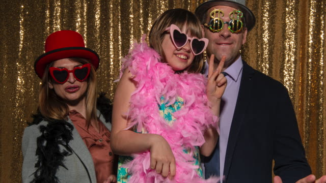different people posing in the photo booth wearing fun props - 35 39 years stock videos & royalty-free footage