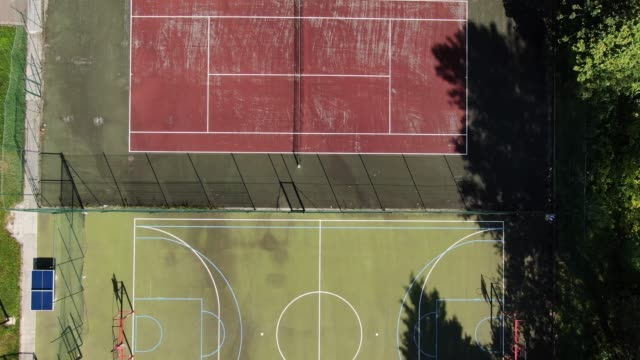 Different sports courts as seen from above
