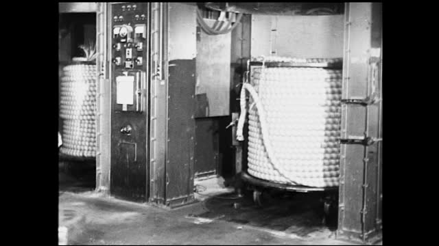 different views of workers assembling telephones; worker being instructed on how to work on telephone pole; men climbing on telephone poles; tractor... - 1940 1949 bildbanksvideor och videomaterial från bakom kulisserna