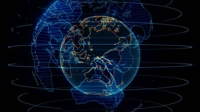 verschiedenen schnitten der spinnerei erde hologramm news intro - europa kontinent stock-videos und b-roll-filmmaterial