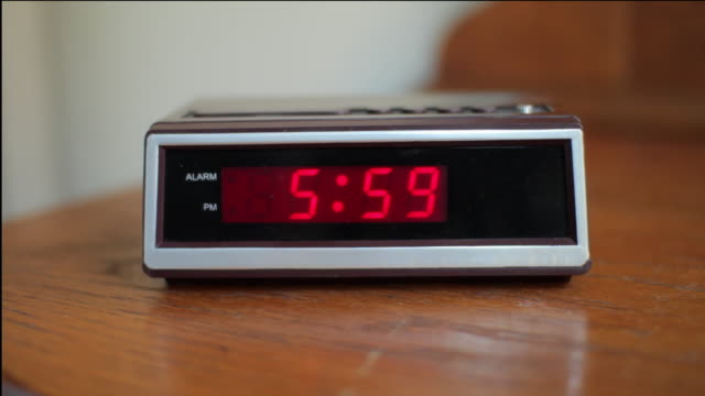 Digital alarm clock changing to 6.00am