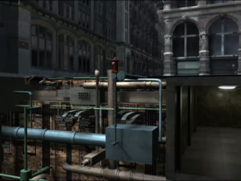 vídeos de stock, filmes e b-roll de digital animation of car rounding corner on street / crane down vertical section of street past pipes, subway station, train tunnels, and uninterrupted strata of rock to subway train speeding through tunnel deep underground - corte transversal