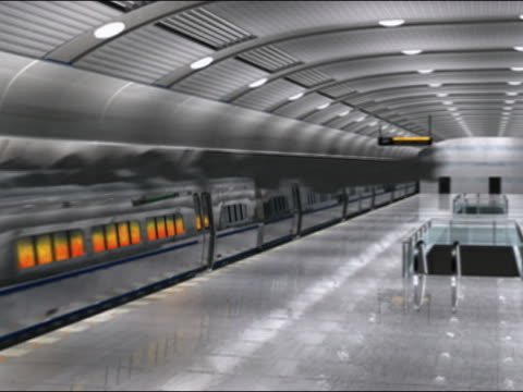 Digital animation of subway train on fire pulling up to platform in underground station