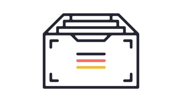 digital archives line icon animation with alpha - file stock videos & royalty-free footage