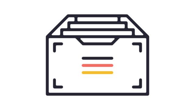 vídeos de stock e filmes b-roll de digital archives line icon animation with alpha - pasta