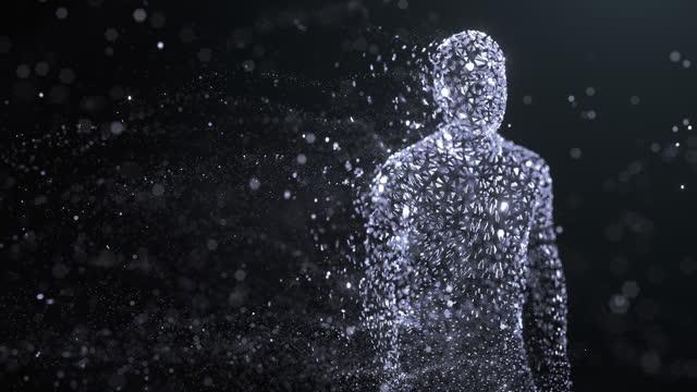 vídeos y material grabado en eventos de stock de avatar digital - inteligencia artificial - negro, copiar espacio - holograma
