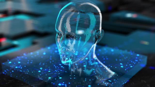 digital avatar / künstliche intelligenz (blau, kopierraum) - copy space stock-videos und b-roll-filmmaterial