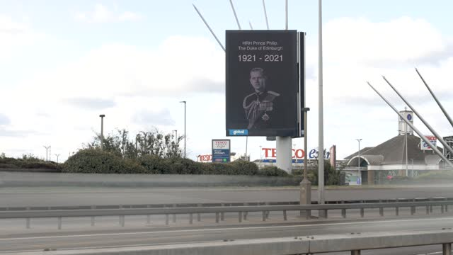 digital billboard displays a portrait of prince philip, duke of edinburgh who died at age 99, on april 10, 2021 in london, united kingdom. the queen... - commercial sign stock videos & royalty-free footage