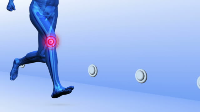 Digital blue human running with highlighted joints