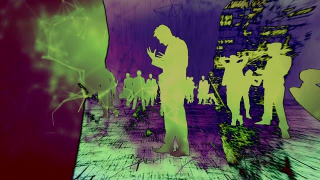 vídeos de stock e filmes b-roll de digital silhuetas de negócios - mapa múndi