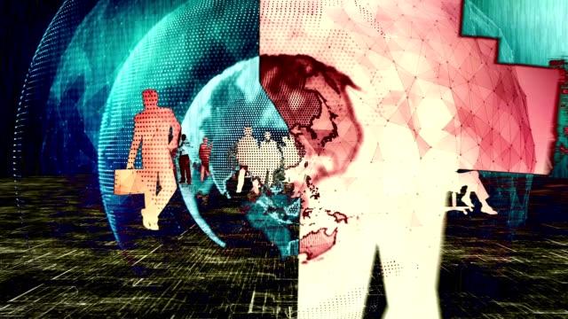 vídeos de stock e filmes b-roll de digital business silhouettes with globe rotating - mapa múndi