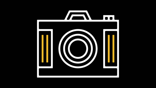 digital camera line icon animation with alpha - scrapbook stock videos & royalty-free footage