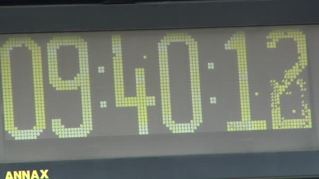 cu digital clock in stadium / oschersleben, sachsen-anhalt, germany - instrument of time stock videos & royalty-free footage