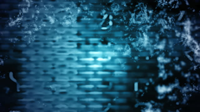 A digital curtain in front of a pulse of funky blue.