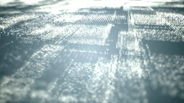 vídeos de stock, filmes e b-roll de partículas do espaço cyber digital - material