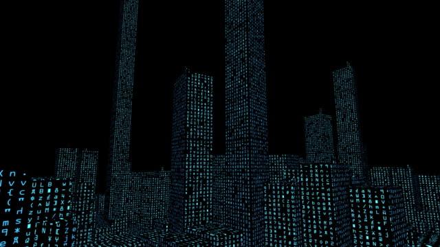 vidéos et rushes de données numériques code ville (alpha haute définition - pixellisation