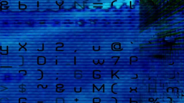 vídeos y material grabado en eventos de stock de a digital data curtain in front of a moosh of bleeding tech color. - escritura occidental