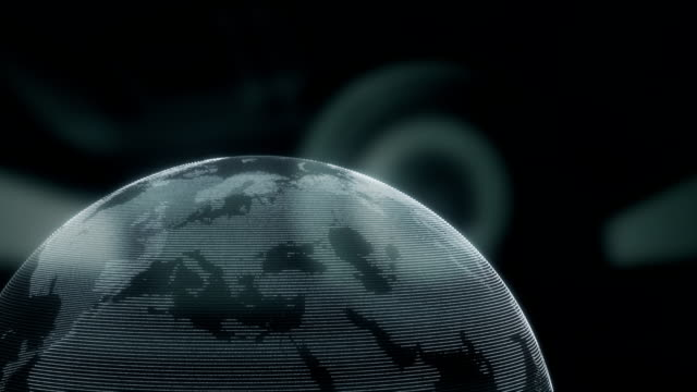 digital earth model covered with icons. animation - map icon stock videos and b-roll footage