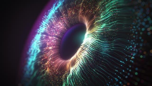 digitale auge iris verbindungen, abstrakte iris explosion hintergrund - teilchen stock-videos und b-roll-filmmaterial