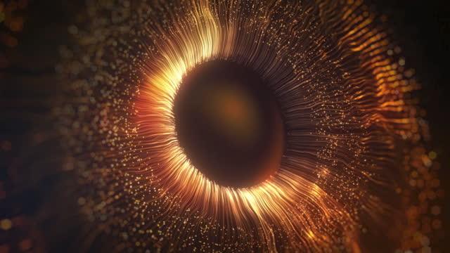 vídeos de stock, filmes e b-roll de conexões digitais de íris de olho, fundo de explosão de íris abstrata - bola plasma