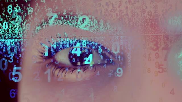 デジタル目 - バイナリーコード点の映像素材/bロール