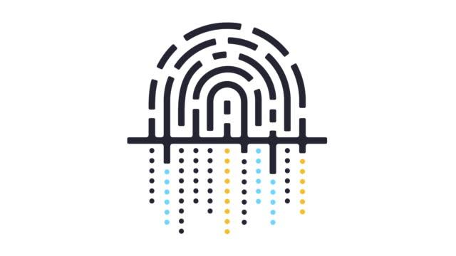 digital fingerprint icon animation - outline stock videos & royalty-free footage