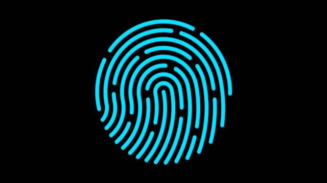 4k digital fingerprint scanning with circle digital line - fingerprint stock videos & royalty-free footage