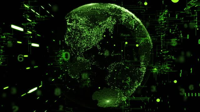 Digital Floating Technology Concept,green color