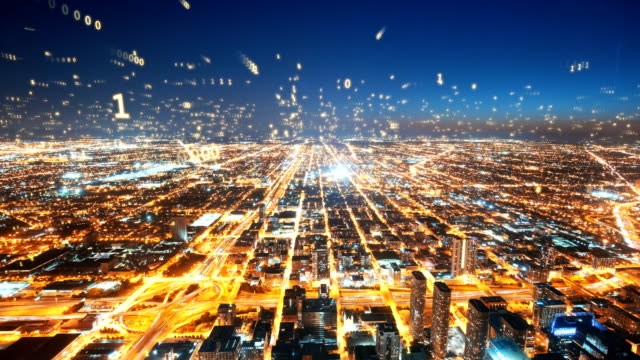 digital fly over modern city chicago,smart city - big data video stock e b–roll