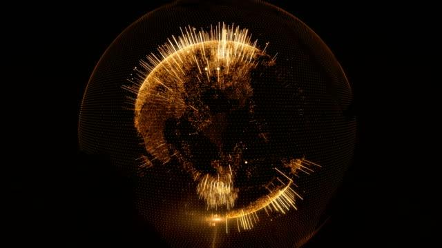 vídeos de stock, filmes e b-roll de hologramas de globo digital datam de renderização 3d - alvo militar