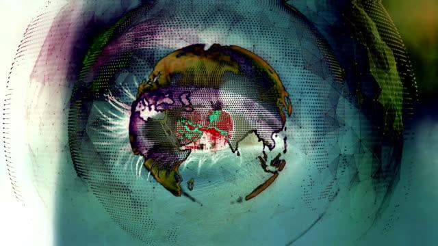 Digital mundo girando alrededor de cerrar ojo