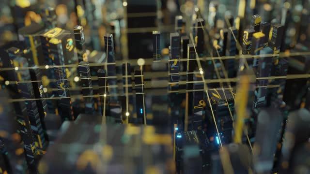 digital grid shapes buildings - machinery stock videos & royalty-free footage