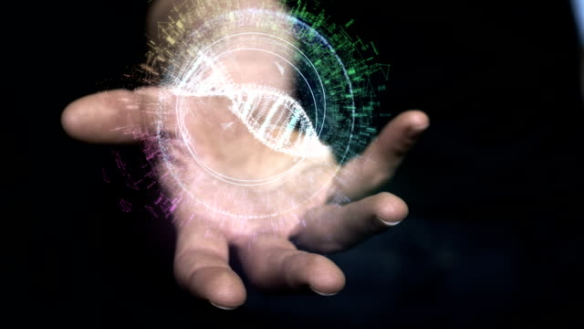 digital helix in hand. dna designing - hologram stock videos & royalty-free footage