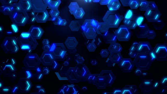 digital hexagon abstract background - nanotecnologia video stock e b–roll
