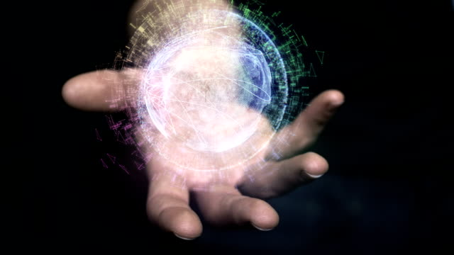 digital holographic globe in hand. gps research - hologram stock videos & royalty-free footage