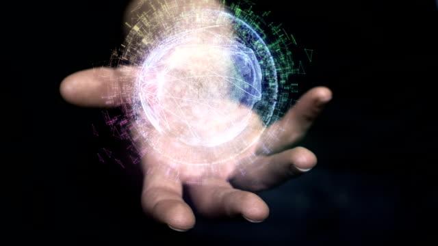 digital holographic globe in hand. gps research - realtà aumentata video stock e b–roll