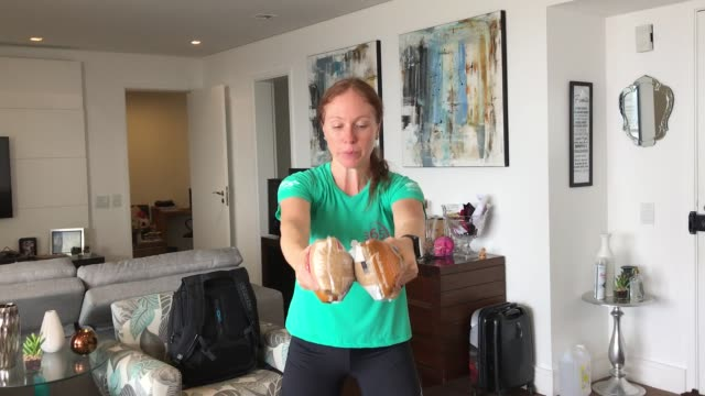 digital influencer caca filippini trains at her home on march 31 in sao paulo brazil caca started training in late 2019 to run the ny marathon that... - social media stock videos & royalty-free footage