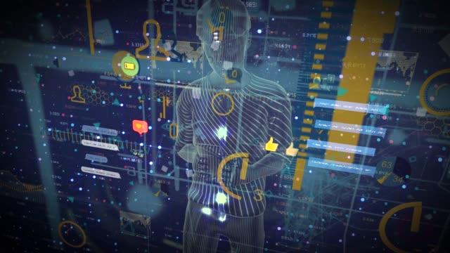 デジタル男性のテキストメッセージ、スマートフォンhudコンセプト - hologram点の映像素材/bロール