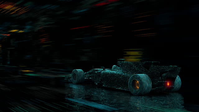 a digital model of a racing car rushing at high speed through a digital tunnel. a digital single-seat formula one car in a virtual space. - formula one racing stock videos & royalty-free footage